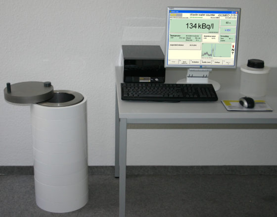 A counter to measure radioactivity in waste water of nuclear facilities