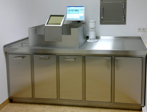 A laboratory stainless steel work bench