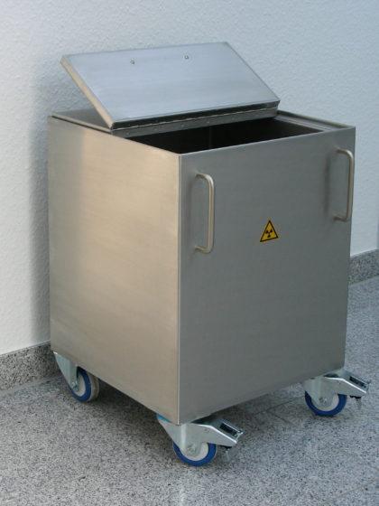 A lead shielded waste bin with wheels