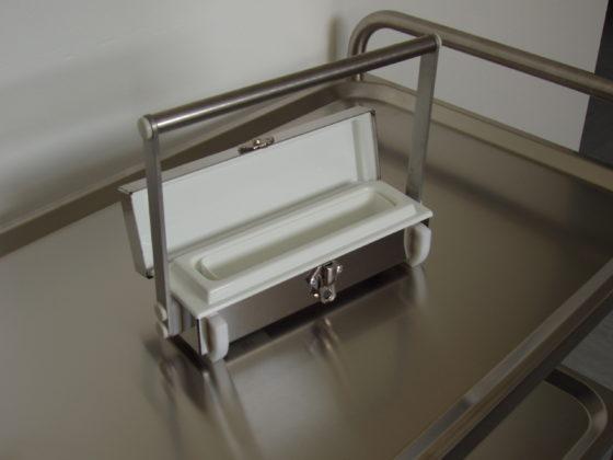 A lead syringe shielding case