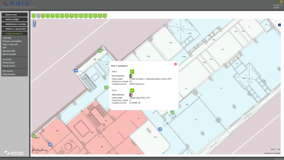 The interface of a software for facility radiation control